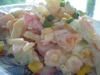 Креветочный салат с грушами