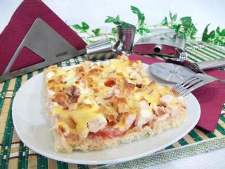 Пицца с копченой курицей из замороженного теста. Рецепт с фото