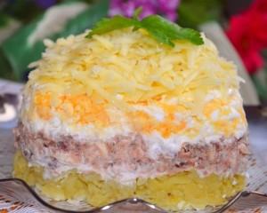 салат из тунца слоями рецепт с фото