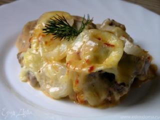 Язык говяжий с сыром.