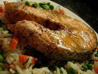 Запеченный лосось в имбирном маринаде. Блюда  с имбирем